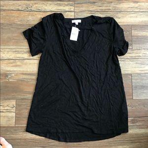 Deep V black open socialite T-Shirt